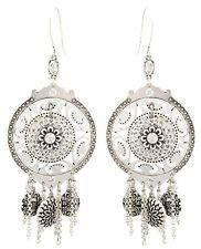 Zest Silver-Look Shield, Black Pattern & Swarovski Crystal Drop Pierced Earrings