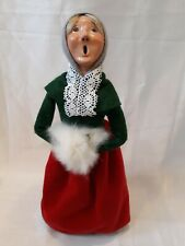 1983 Byers Choice Blonde Woman with White Fur Muff & Red Velveteen Skirt