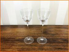 2 x WATERFORD JOHN ROCHA CRYSTAL FOLIO WINE GLASSES CUT GLASS WHITE LARGE PAIR