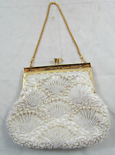 Vintage Handmade Hong Kong Off White/Cream Beaded Clutch Purse Bag