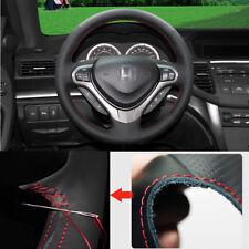 For Honda SPIRIOR 2012 Steering Wheel Cover Non-slip Hand Sewing Black Leather