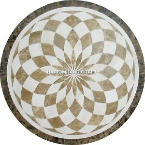 Handmade Marble Side Table Top Elegent Arts Inlay Precious Rare Home Decor H4720