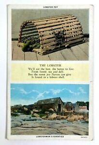 1915-30 Lobster Pot, Lobsterman's Shanties Postcard