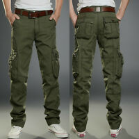 Men Cotton Military Cargo Pants Work Camouflage ARMY Green Camo Trousers Combat