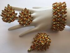 VTG KRAMER AMBER GOLDEN COLORED RHINESTONE EARRINGS BRACELET BROOCH SET SIGNED