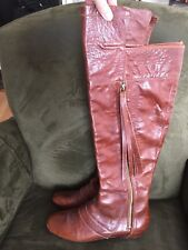 10 Crosby Derek Lam Loden Brown Leather Over the Knee Wedge Boot Size US 9.5