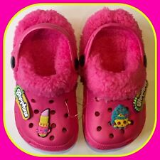 Childrens Girls Pink Shopkins Croc Type Fur Lined Slippers Shoes Kids Size 1