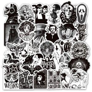 50 Black White Gothic Horror Punk Rock Graffiti Stickers Guitar Car Decal UK NEW
