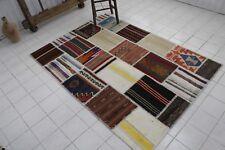 "Vintage Handmade Turkish Patchwork Oushak Rug  78""x55"""
