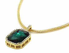 "Men 14k Gold Plated Iced Out Green Cz Octagon Pendant Hip-Hop 24"" Franco Chain"