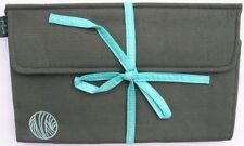Luxury SILK Interchangeable Knitting Needle Roll Case 30cmL GREY/AQUA