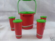 Tupperware Watermelon Jumbo Canister Pitcher 5 Quarts With 4 16 oz Tumblers New