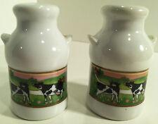 VINTAGE MILK JUG BOTTLE WITH COW GRAPHICS  SALT & PEPPER SHAKERS