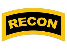 3x5 inch Yellow RECON Tab Shaped Sticker -ssi decal marine corps army military