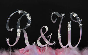3 French Flower Swarovsk Crystal Accent Wedding Monogram Cake Topper Top Letters
