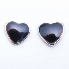 NEW CUTE! Black Onyx Hearts Studs .925 Sterling Silver Earrings TOP SELLER!