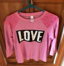 """Total Girl 3/4 Sleeve Shirt Size XXL Plus 20.5 Pink With """"Love"""" Graphic"""