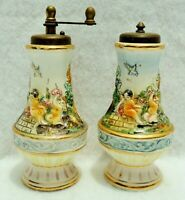 Pair Antique/Vtg Capodimonte Italy Cherub Putti Porcelain Salt & Pepper Shakers