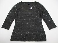 new MAX EDITION #K261 Women's Size M Charcoal Gray Sparkle Sequin Knit Sweater