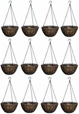 "BOX OF 12 = PANACEA 14"" Round Green Growers Hanging Basket Coco Liner Chain Hook"