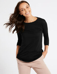 Ex M&S Collection Jersey 3/4 Sleeve Round Neck T-Shirt Top LONGLINE Size 6 - 24