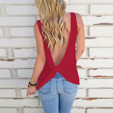 Sexy Backless Solid Sleeveless Tanks - Red