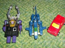 Transformers G1 Lot of (3) helicopter, car, Decepticon beetle 1980's