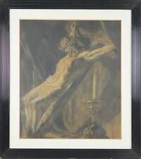 CRUCIFIXION. MIXED TECHNIQUE. PASTEL AND WATERCOLOR. ANONYMOUS. XXTH CENTURY.