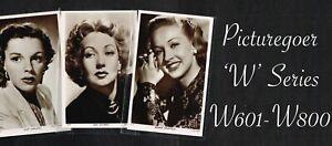 PICTUREGOER - 'W' Series 1940s ☆ FILM STAR ☆ Postcards #W601 to #W800