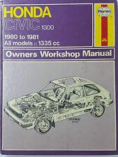 Haynes 633 Owner's Repair Manual Honda Civic 1300 All Models 1335cc 1980-1981