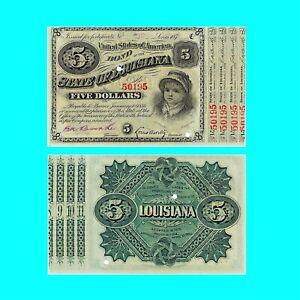🍀USA Louisiana 5 Dollar 1879 XF 28777 Low Shipping Combine Free