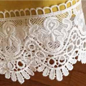 White Black Guipure Crochet Wide 12cm Lace Trim Fabric Edging 1Yd Bridal Crafts