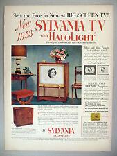 Sylvania Television TV PRINT AD - 1952 ~~ Halolight big-screen TV