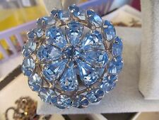 Vintage WEISS Brilliant Blue Rhinestone Pin Brooch Round Triple Layer Rhodium