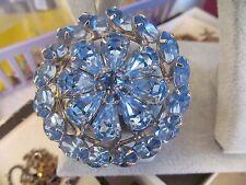 Vintage WEISS Brilliant Blue Rhinestone Pin Brooch Round Triple Layer Rhodium