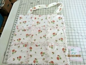 """# 34  PINK ROSES ON WHITE RAG TOTE BAG REVERSABLE 12"""" X 12""""  100% COTTON FLANNEL"""