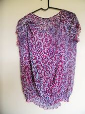 Liz Claiborne Women's Size M Sheer Paisley Multi-Color Attached Tank Tunic Top