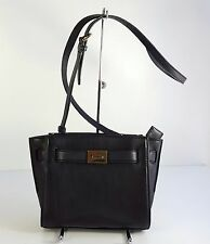 $298 Michael Kors Hamilton Black Genuine Leather Messenger Bag Handbag