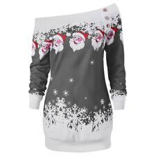 Christmas Women 1950s Retro Skater Swing Dress Xmas Santa Holiday Party Clothes