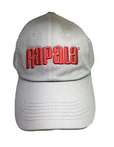 Rapala Fishing Lures Mesh Strapback Trucker Cap Hat Khaki Red NWOT