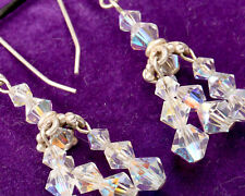 and Clear Crystal Earrings Vintage 1960s Silver 925