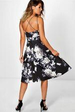 5b8a30317bcd Boohoo - Eleanor Floral Strappy Midi Skater Dress Uk 12 Brand New