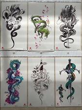 6 X Dragon Temporary Tattoo Body Arm Tattoo Sticker Half Sleeve Fake Waterproof