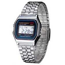 Reloj de pulsera Hombres Mujeres niño Vintage clásico metal digital alarma plata