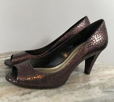 45cb6cafbf2 Antonio Melani Bronze Leather Heels 8.5 Peep Toes Shoes Pumps Metallic