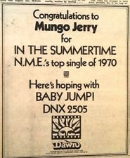MUNGO JERRY 'Baby Jump' UK mini Press ADVERT 7x5 inches
