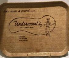 "Vtg Fiberglass Tray Underwood'S Pit Bar-B-Q 14"" x 18"" Retro West Cafeteria Tray"