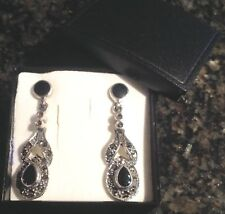 Antique style Sterling Silver black Onyx sparke Marcasite drop dangle earrings