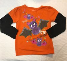 Faded Glory 3T Girls Halloween Long Sleeve T-Shirt Bats Orange