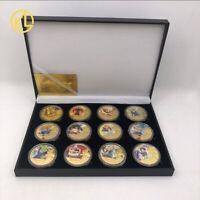 12pc Cartoon Dragon Ball Z Gold Commemorative Coin Goku Vegeta Collection In Box